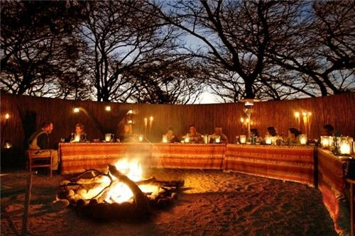 Elephant Lodge Boma at night