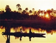 Sunset on Okavango Delta